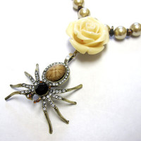 Garden Spider Necklace Day of the Dead Jewelry Rose Ivory Champagne Tigers Eye
