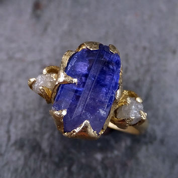 Raw Diamond Tanzanite Crystal Gemstone 14k Gold Engagement Ring Wedding Ring One Of a Kind Gemstone Ring Bespoke Three stone Ring by Angeline