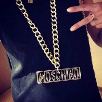 MOSCHINO Fashion Letters Metal Coarse Neck Chain Waist Chain Waist Belt
