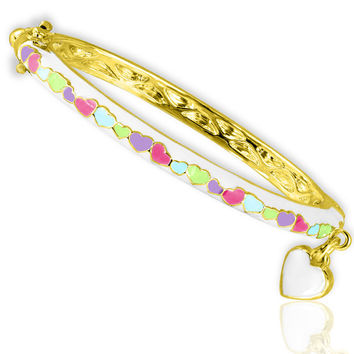 14K Gold Plated Kids Girls Children's Enamel Bangle Heart Bracelet with Charm- Little Girls and Baby Jewelry