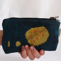 Waxed Canvas Green Gold Handmade Hand Painted Small Clutch Bag, Glitter,Waxed Canvas Pencil Case, Green Pencil Case, Small Makeup Bag