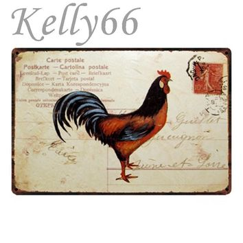 [ Kelly66 ] Rooster Antique Metal Sign Tin Poster Farm Home Room Decor Bar Wall Art Painting 20*30 CM Size y-1430