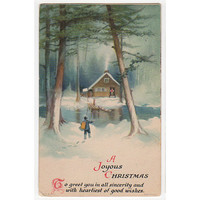 Old Christmas Postcard, Winter Scene, Artist Signed Ellen Clapsaddle, Boat and Cabin, Wolf Co. Card 36, Laconia New Hampshire Postmark