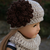 crochet beanie hat with flower, crochet doll hat,  infinity scarf, 18 inch doll clothes, american girl, maplelea