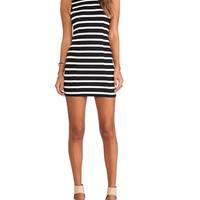 Striped Back V Bow Sleeveless Bodycon Mini Dress