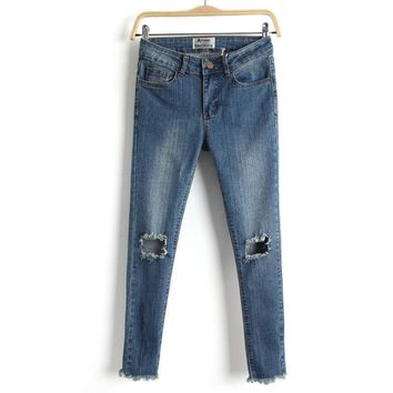 Summer Ripped Holes Slim Stretch Jeans Cropped Pants [8173443399]