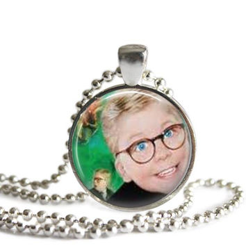 A Christmas Story Necklace Silver Plated Ralphie Picture Pendant