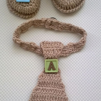 Hand Crocheted Baby Boy Newborn Set \ Shoes and Tie Set \ Gift for Baby Boy \ Gift for Newborn Set