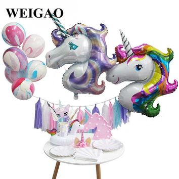 WEIGAO Unicorn Set New Year Gifts Photo Props Ballons Tableware Paper Tassels DIY Birthday Party Decor Unicorn Party Supplies