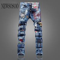 NEWSOSOO 2016 Designer Ripped Jeans Men Fall Fashion Winter Warm Jeans Patchwork Denim Overalls Mens Biker Jeans Brand Clothing