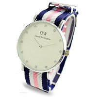 DW Nylon Strap Wristwatch (Pink, White and Blue)