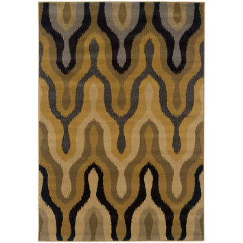 "Stella 3320D Abstract Gold-Black Area Rug (9'10"" X 12'9"")"