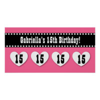 15th Birthday Pink Black Hearts Banner Custom V15H Poster