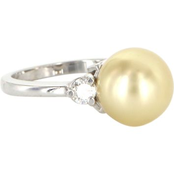 Estate 10.5mm Golden South Sea Pearl Diamond Cocktail Ring 14 Karat White Gold Fine