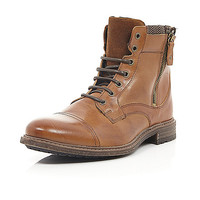 River Island MensBrown leather side zip military boots