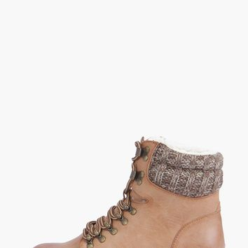 Ella Contrast Knit Lace Up Hiker Boot