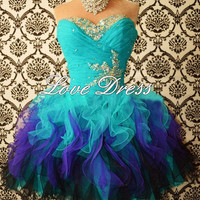 Sweetheart Mini Rhinestone Organza prom dress,homecoming dress,mini dress,blue dress,formal dress