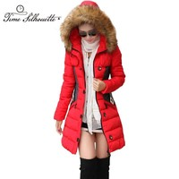 Brand New Winter Jacket Women Parka Coat Abrigos y Chaquetas Mujer Invierno 2017 Big Fur Collar Hood Clothing Anorak Jacket L02