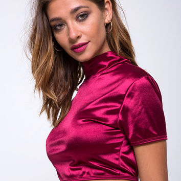 Jacki Wrap Top in Satin Burgundy by Motel