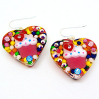 Cupcake earrings, candy heart earrings, sprinkles earrings, candy resin jewelry, sprinkles jewelry, cute earrings, harajuku fashion