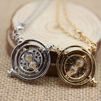 Harry Potter Time Turner Neckaces Hermione Granger Rotating Spins Gold Plated Hourglass Choker Necklace
