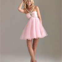 A-line Strap Sequin Drape Pink Short Prom Dress PD0438