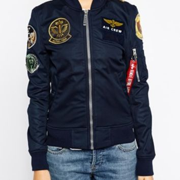 Alpha Industries Ma1 Soft Shell Bomber Jacket With Patches at asos.com