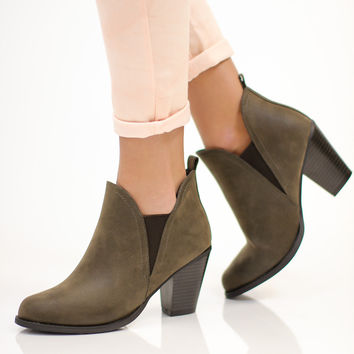 Time Is Now Bootie - Charcoal Brown