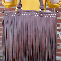 Fashion Bag with Fringe by Texas Leather {Brown Leather} - 500238