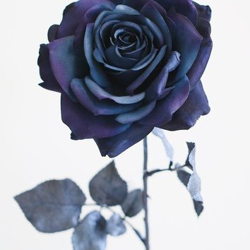 "Navy Blue Madonna Silk Rose with Metallic Leaves - 27"" Tall"