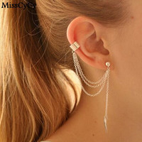 MissCyCy Punk Rock Leaf Chain Tassel Dangle Ear Cuff Wrap Earring Plated Gold earrings in jewelry 1 pcs