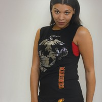 Ladies Silver Foil Eagle, Globe, and Anchor Rocker Sleeveless T-shirt | Sgt Grit - Marine Corps Store