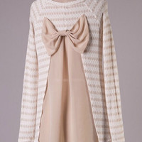 Bow Back Striped Tunic Sweater - Beige