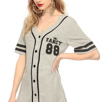 So Fancy Grey Button Up Jersey Graphic Top