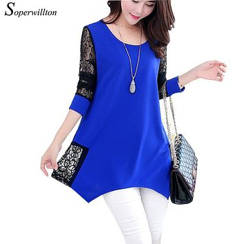 2016 Shirt Women For Work and Casual Women Blouses O-neck Plus Size 5XL Blusas Patch Lace Blouse Long Sleeve Female Shirts D5002