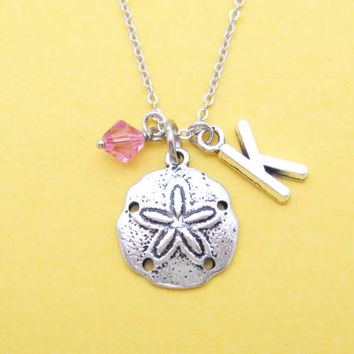 Personalized, Birthstone, Letter, Initial, Sand dollar, Silver, Necklace, Beach, Wedding, Nautical, Bridesmaid, Birthday, Best friend, Gift