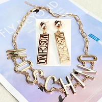 Moschino Popular Women Personality Metal Letter Earrings Crystal Stud Earrings Necklaces I12315-1