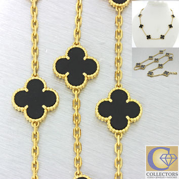 Authentic Van Cleef &cArpels Alhambra 10 Motifs Onyx 18k Yellow Gold Necklace