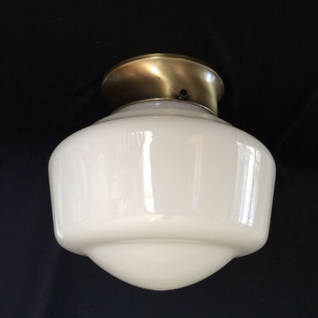 Antique Vintage School Light industrial Ceiling Light Fixture 1930s Art Deco