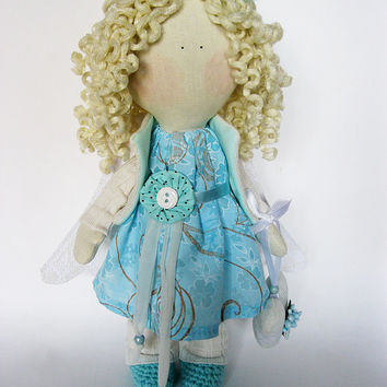 Handmade rag doll Blue Angel with heart, cloth doll, fabric doll