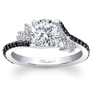 "Barkev's Black Diamond Prong Set ""Flare"" Diamond Engagement Ring"