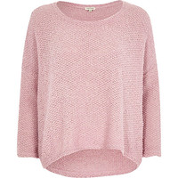 River Island Womens Pink boucle knit sweater