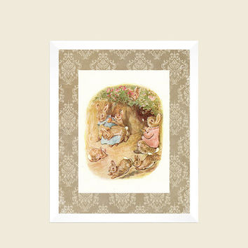 Peter Rabbit Nursery Decor Baby Vintage Damask Background Art Print CUSTOMIZE YOUR COLORS 8x10 Prints Nursery Decor Baby Room Decor Kids