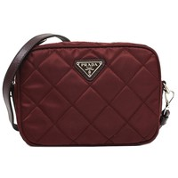 Prada Tessuto Impuntu Quilted Nylon and Leather Crossbody Shoulder Bag BT1028 - Burgundy Crimson Red