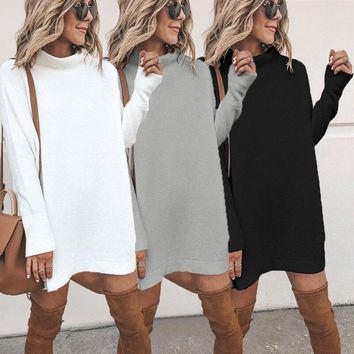 Casual Long Sleeve Dress Women Plus Size Short Dress Female Autumn Spring Loose knitted Sweaters Dresses