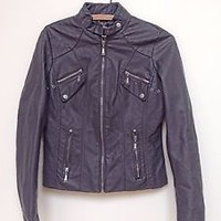 Women's Jou Jou grey Faux-Leather Jacket size small