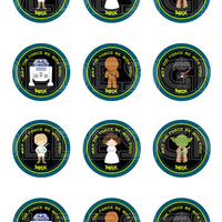 Star wars Stickers, Cupcake Topper, Tags, great for birthday partys. 2 Inch Circles. Digital file