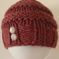 Knit Toddler Hat, Knit Hat with Button Trim, Knit Banded Hat, Knit Pumpkin Spice Hat