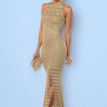 Gold Crochet Sweater Dress in Gold Multi | VENUS