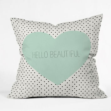 Hello Beautiful Heart and dots Throw Pillow / hellobeautiful / mint heart / black and white dots / cute / girly / pattern / preppy / hello